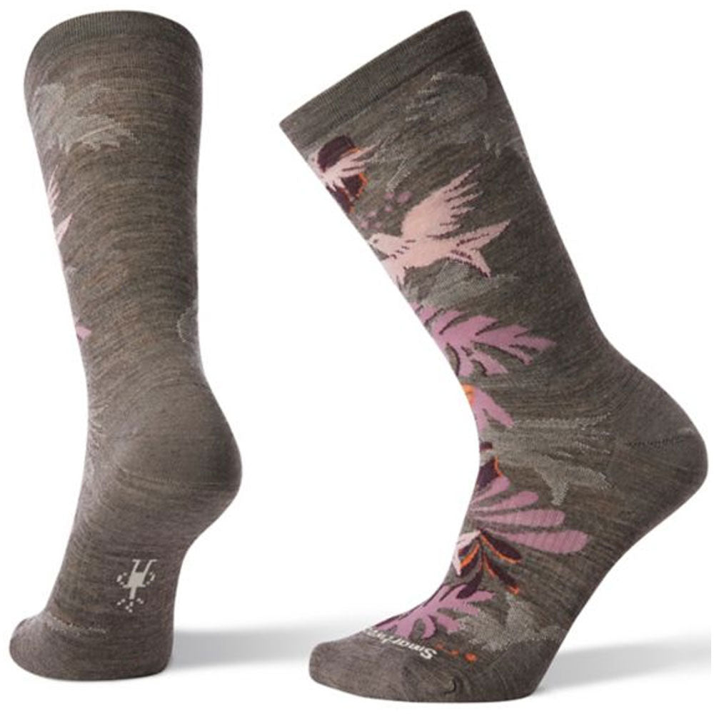 Women's Parakeet Palm Crew Socks in Taupe