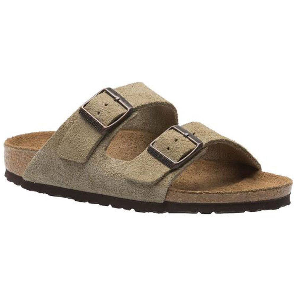 Birkenstock Arizona Soft Footbed Sandal in Taupe Suede at Mar-Lou Shoes