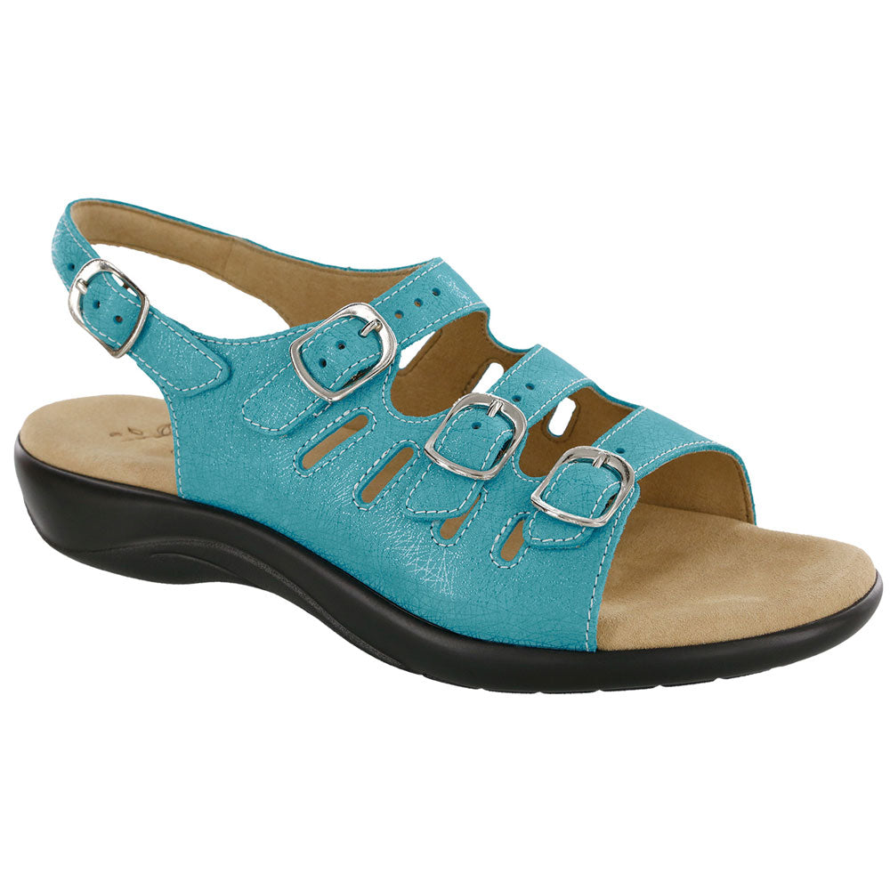 SAS Mystic Sandal in Turquoise Leather at Mar-Lou Shoes