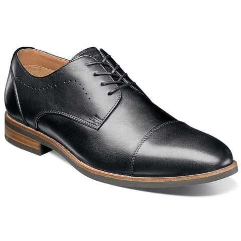 Uptown Cap Toe Oxford in Black Leather
