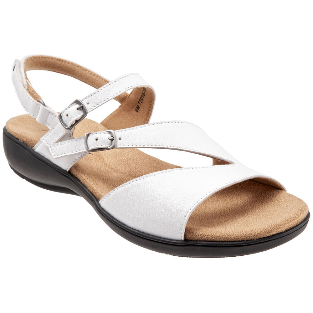 Trotters Riva Sandal in White Leather at Mar-Lou Shoes