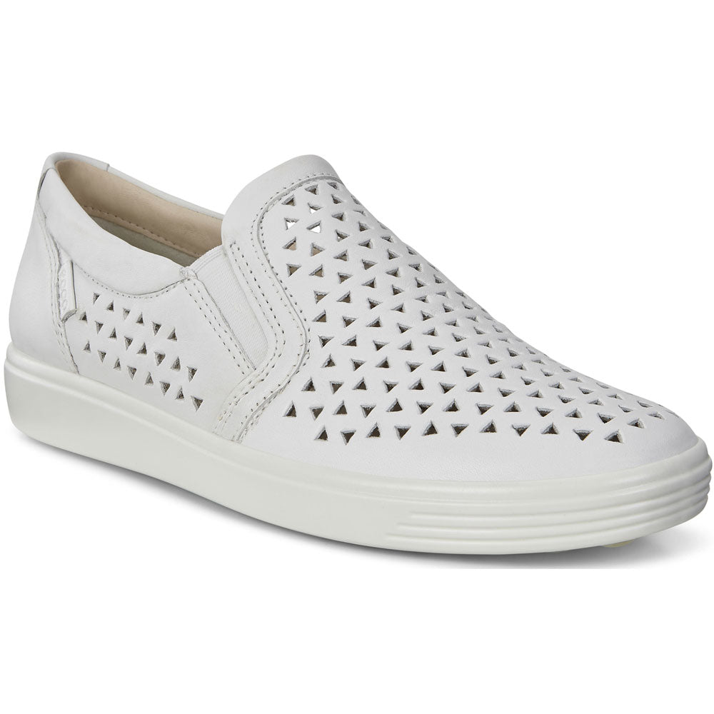 ECCO Women's Soft 7 Laser Slip-On in White Leather at Mar-Lou Shoes