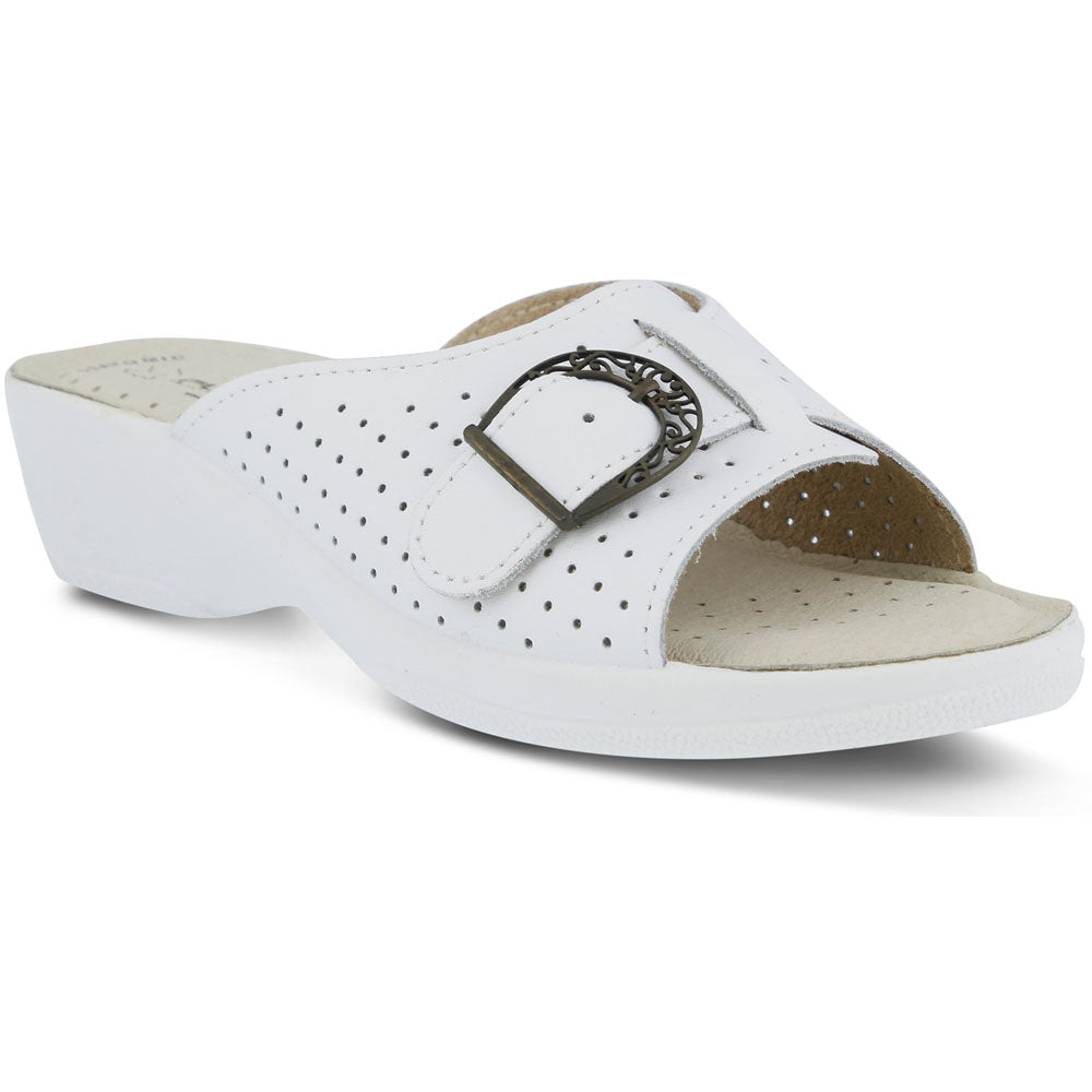 Edella Sandal in White Leather