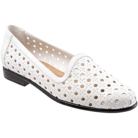 Liz Open Weave in White Leather