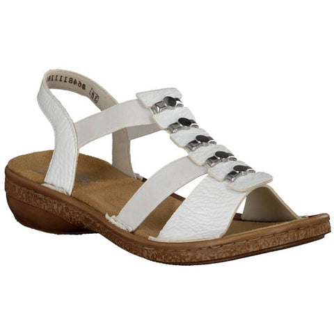 Rieker 62850 Sandal in White at Mar-Lou Shoes