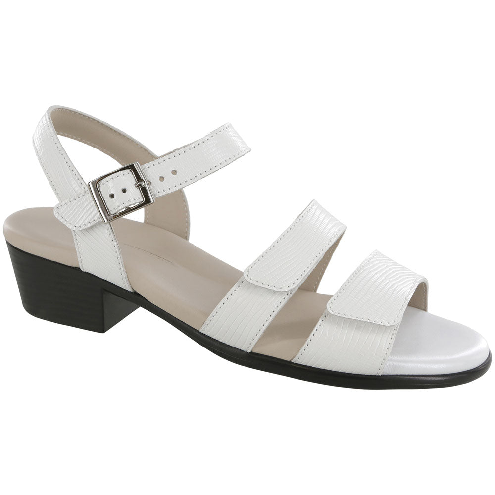 SAS Savanna Sandal in White Lizard Leather at Mar-Lou Shoes
