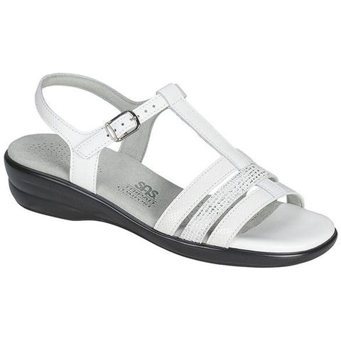 SAS Capri Sandal in White Snake at Mar-Lou Shoes