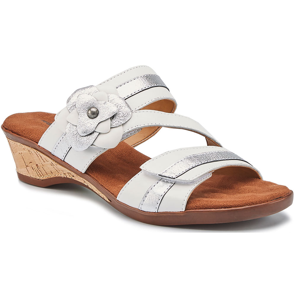 Kimmy Sandal in White/Silver Leather