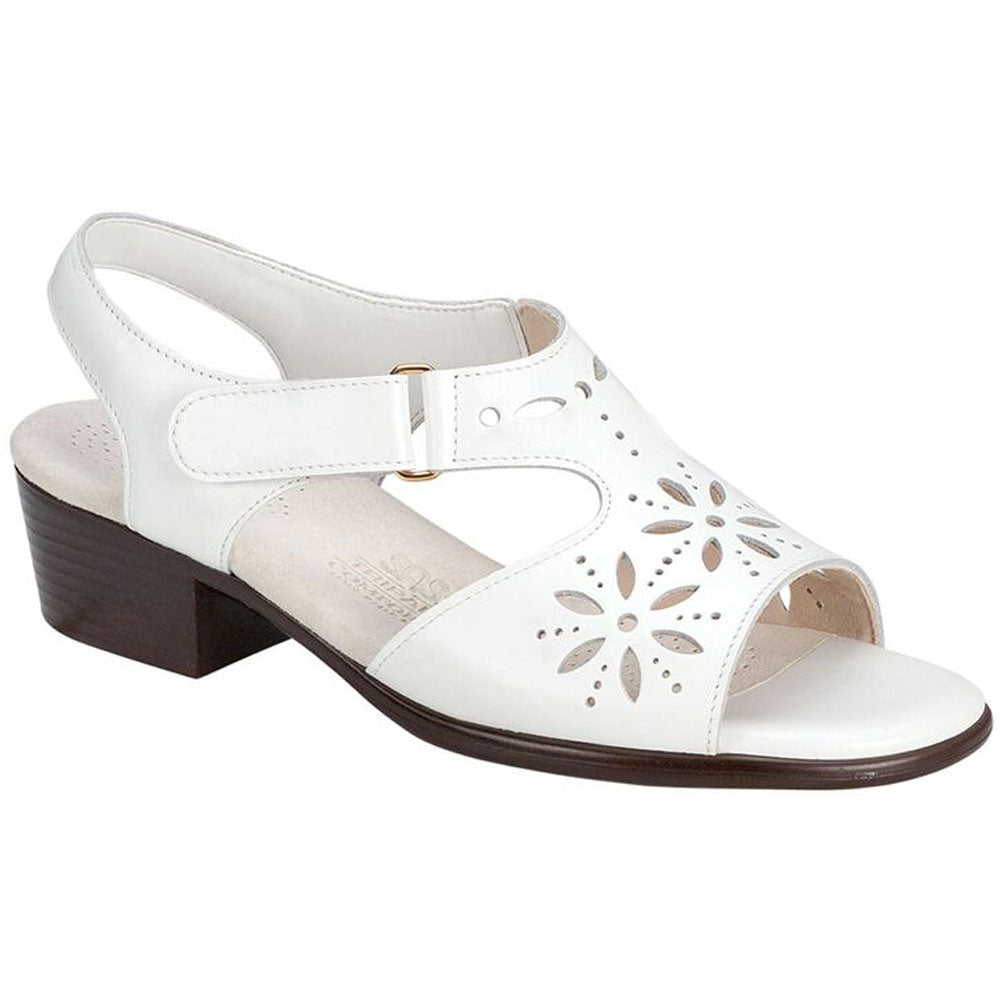 SAS Sunburst Sandal in White Leather at Mar-Lou Shoes