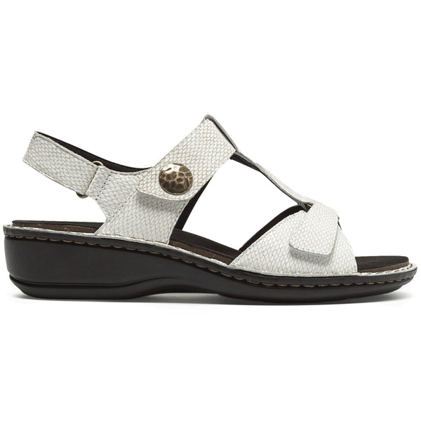 Aravon Collette Sandal in White Print at Mar-Lou Shoes