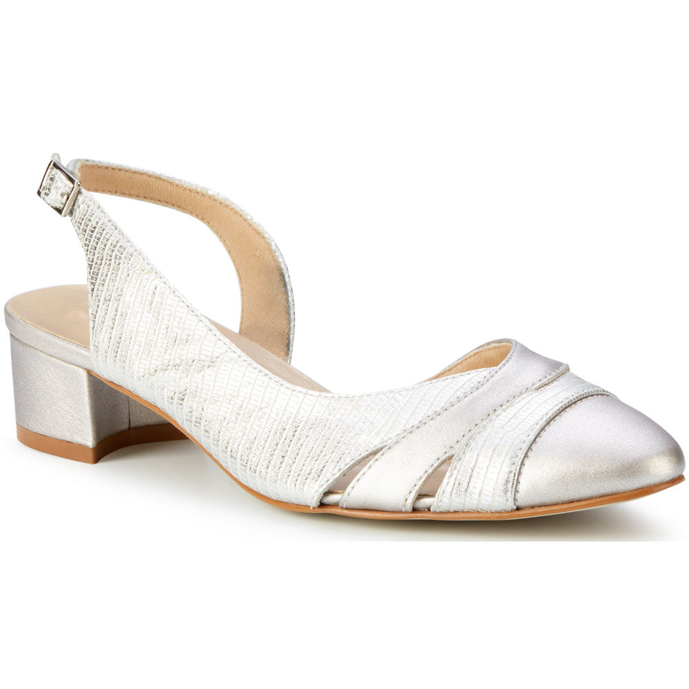 Walking Cradles Hattie Slingback Pump in White/Silver Multi Leather at Mar-Lou Shoes