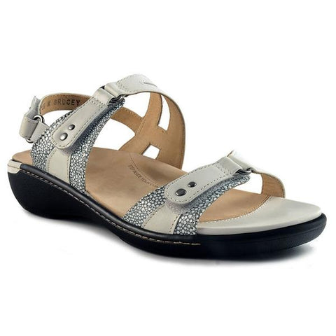 Banner Sandal in White Stingray Leather