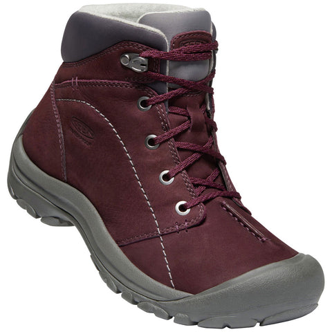 Keen Kaci Winter Waterproof Mid Boot in Winetasting/Steel Grey Leather at Mar-Lou Shoes