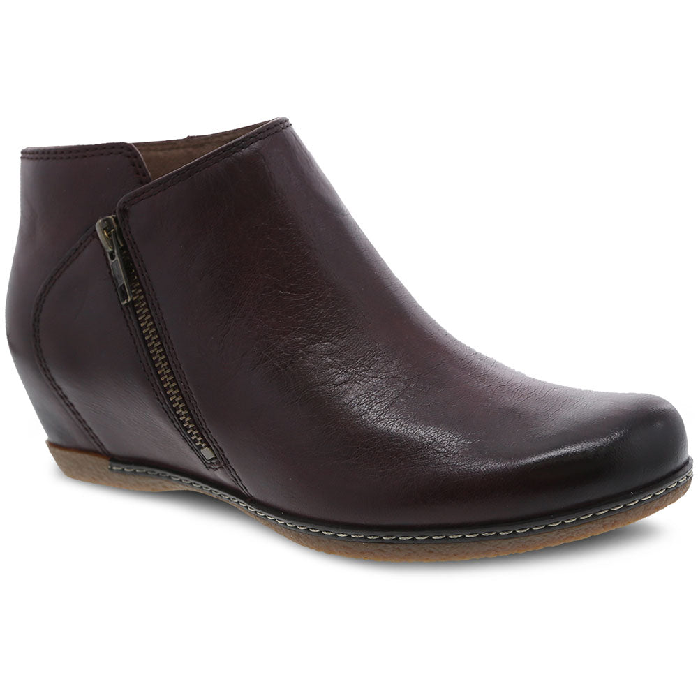 Dansko Leyla Bootie in Wine Burnished Calf at Mar-Lou Shoes