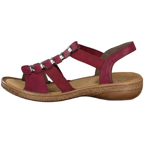 Rieker 62850 Sandal in Wine Leather at Mar-Lou Shoes