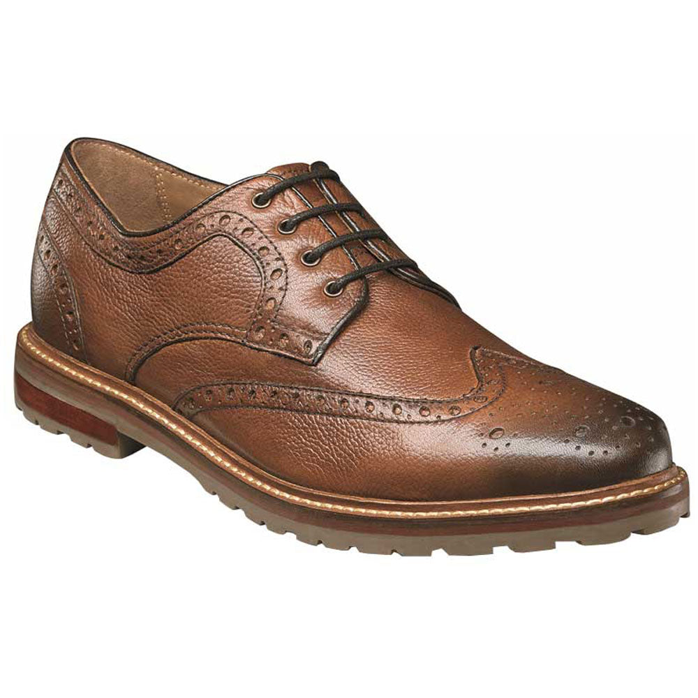 Estabrook Wing Tip Oxfords in Cognac Leather