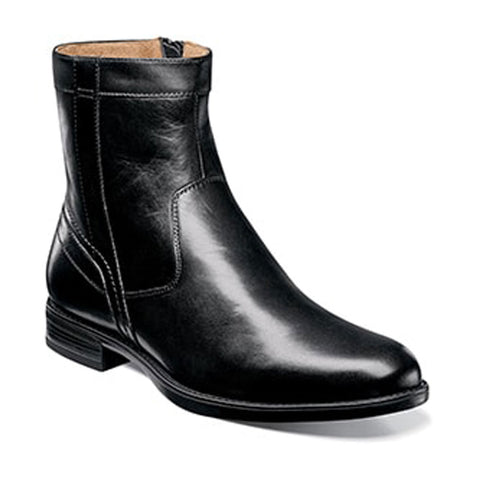 Midtown Plain Toe Zipper Boot in Black Leather