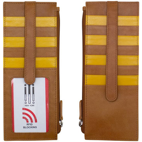ILI 7800 RFID Credit Card Holder with Zip Pocket in Yellowstone Leather at Mar-Lou Shoes
