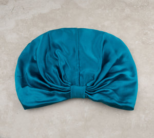 SILK HAIR WRAP in Persian Blue