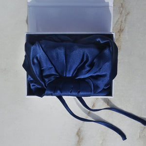 DELUXE SILK HAIR WRAP in Navy