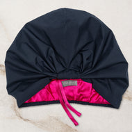 SILK LINED SHOWER CAP IN NAVY & CERISE