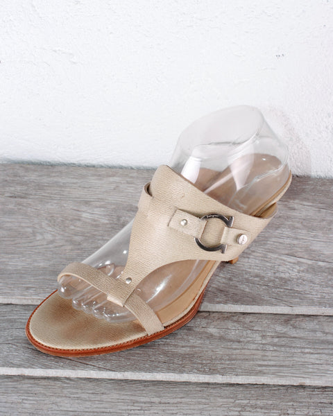 Salvatore Ferragamo Leather Buckle-Accent Slide Sandals