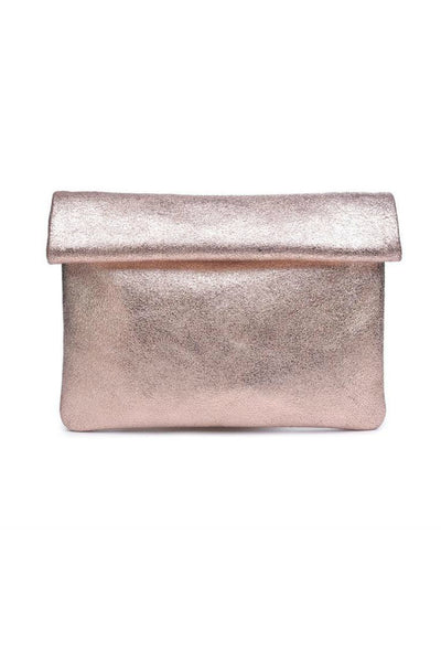 Moda Luxe Metallic Leather Clutch