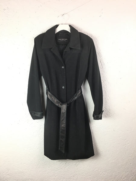 Andrew Marc Black Belted Coat
