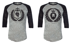 King and Queen Burnout 3/4 Sleeve Baseball Tee