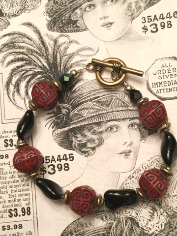 Black and Red Bead Bracelet
