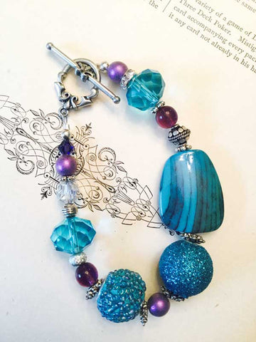 Turquoise Blue and Purple Sparkle Bracelet