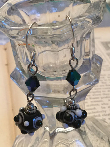 Black and White Bumpy Bead Earrings