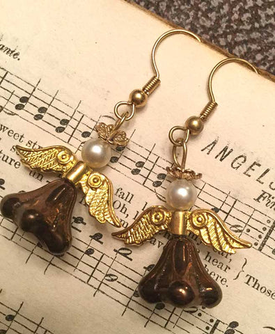 Angel Earrings - gold and brown