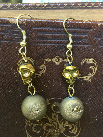 Skull Earrings - gold and druzy