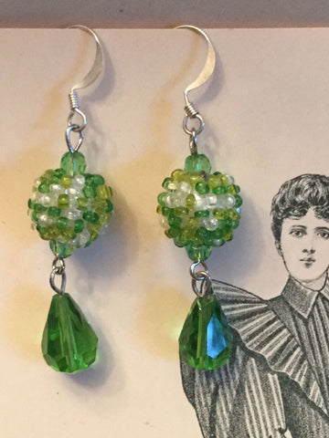 Green Berry Bead Earrings
