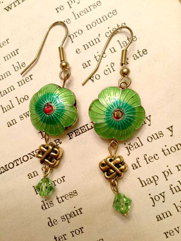 Green Enamel Flowers Earrings