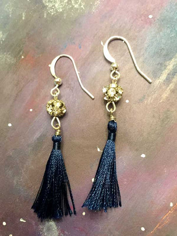 Tassel Earrings - Navy and Rhinestone