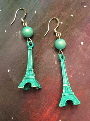 Eiffel Tower Earrings - aqua patina