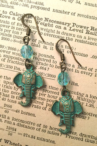 Brass Elephant Earrings with Aqua Patina