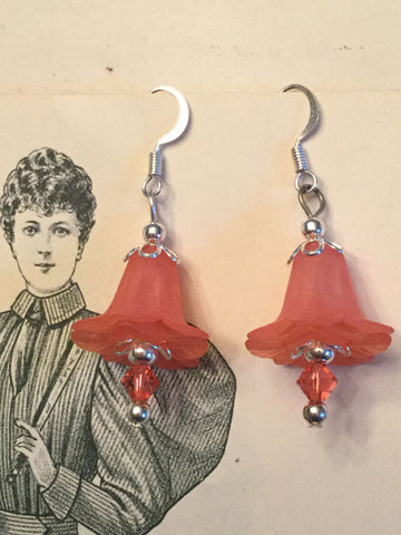 Lucite Flower Earrings - coral