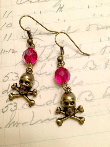 Skull and Crossbones Earrings - Red Crystal and Brass