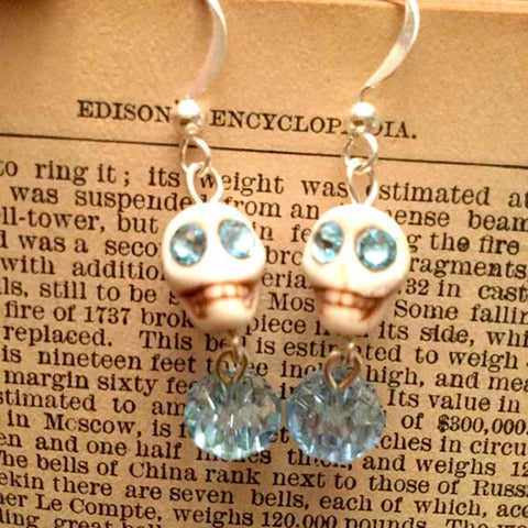 Skull Earrings - Ivory Color and Light Blue