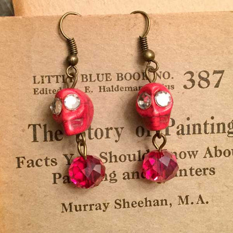 Skull Earrings - red skulls and crystal