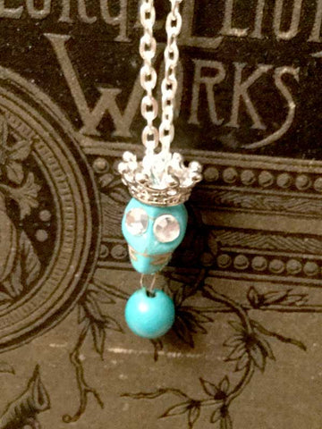 Skull Necklace  - turquoise color with crown