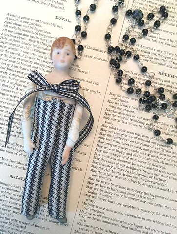 Creepy Doll Necklace Black and White Check