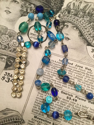 Blue Beaded Necklace with Vintage Rhinestone Pendant