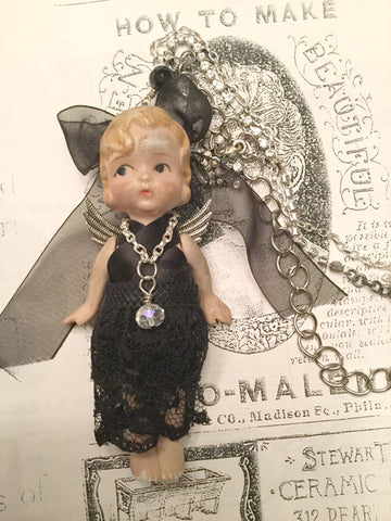 Creepy Doll Black Lace Dress Necklace