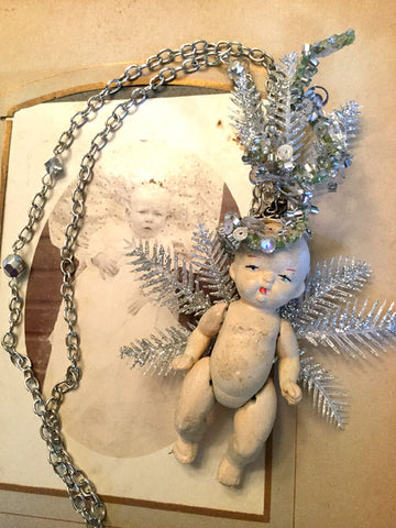 Creepy Doll Vintage Silver Snowflake Necklace