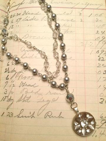 Vintage Rhinestone Button Necklace - silver