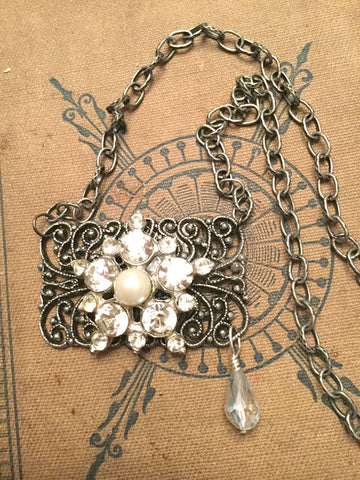 Shoe Clip Necklace with Rhinestones and Pearls
